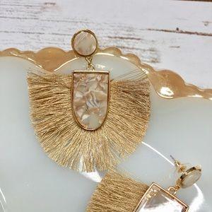Acrylic Stone and fringe gold drop tassel earrings